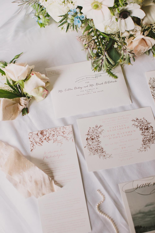 garden wedding stationery - photo by Henry and Mac https://ruffledblog.com/glam-downtown-philadelphia-wedding