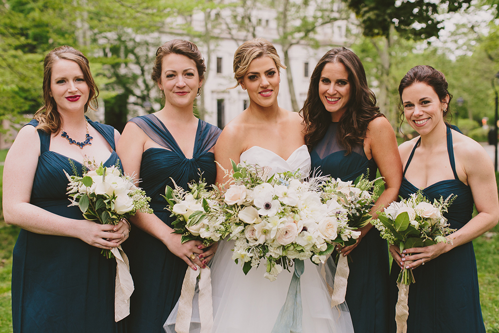 bridesmaids in blue - photo by Henry and Mac http://ruffledblog.com/glam-downtown-philadelphia-wedding