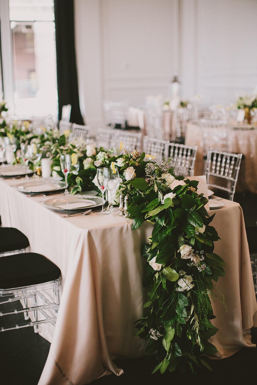 romantic wedding tables - photo by Henry and Mac https://ruffledblog.com/glam-downtown-philadelphia-wedding