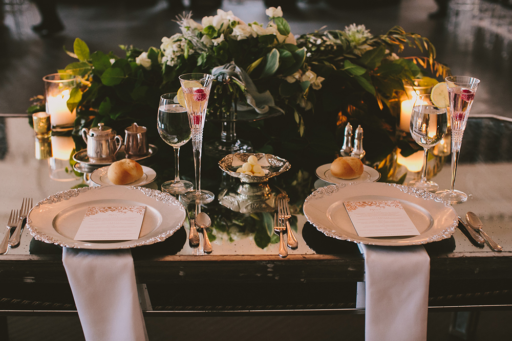 place settings - photo by Henry and Mac http://ruffledblog.com/glam-downtown-philadelphia-wedding