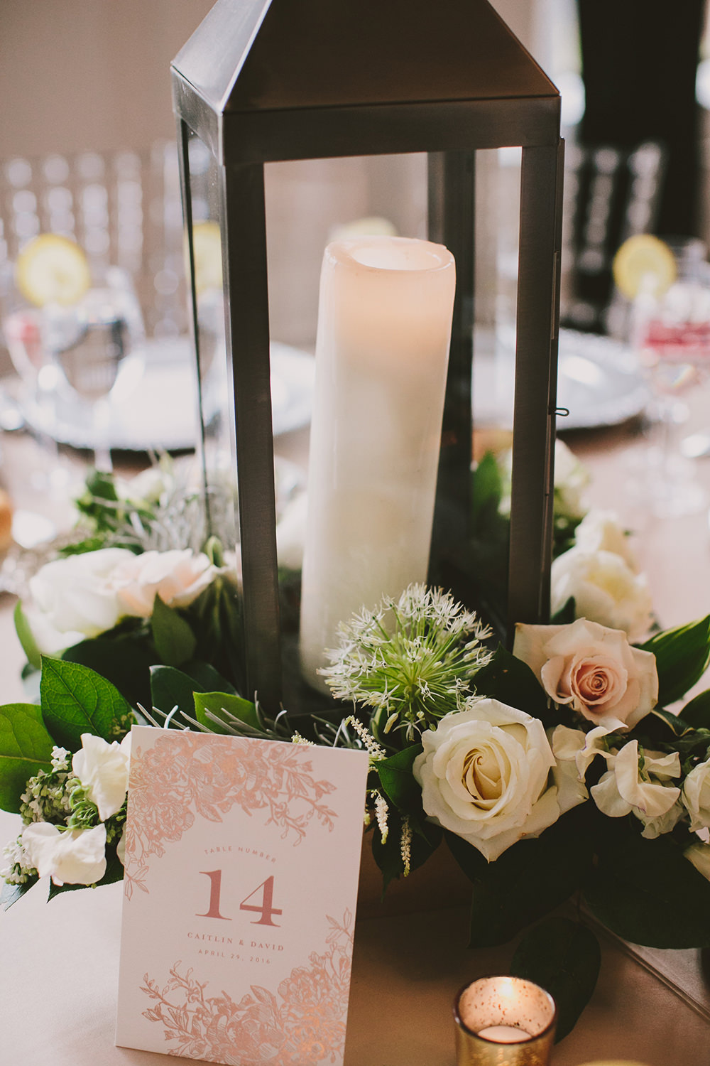 lantern centerpieces - photo by Henry and Mac http://ruffledblog.com/glam-downtown-philadelphia-wedding