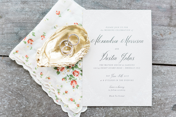 classic wedding invitations - photo by A.J. Dunlap Photography http://ruffledblog.com/glamorous-seaside-soiree-wedding-with-glam-details