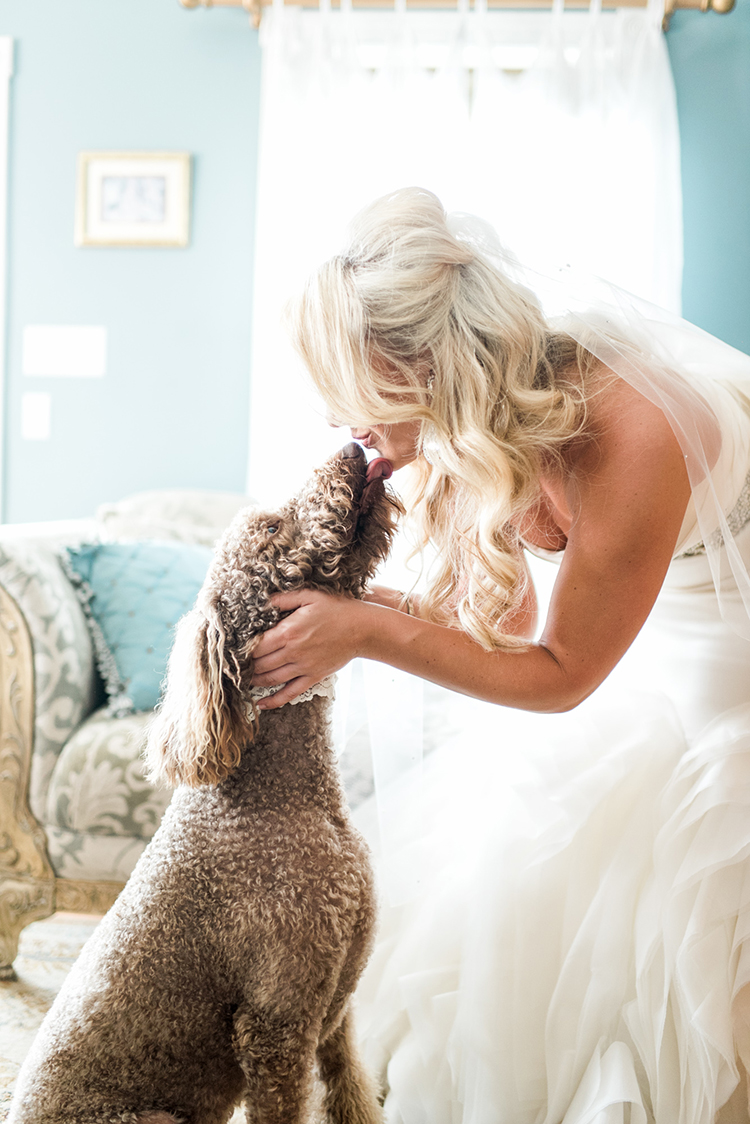 pets at weddings - photo by A.J. Dunlap Photography http://ruffledblog.com/glamorous-seaside-soiree-wedding-with-glam-details