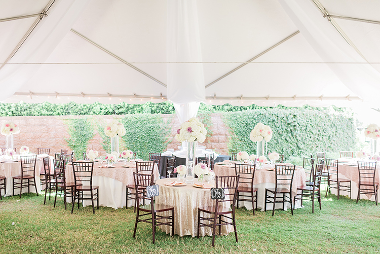 tented wedding receptions - photo by A.J. Dunlap Photography http://ruffledblog.com/glamorous-seaside-soiree-wedding-with-glam-details