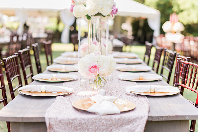 pink table runners - photo by A.J. Dunlap Photography http://ruffledblog.com/glamorous-seaside-soiree-wedding-with-glam-details