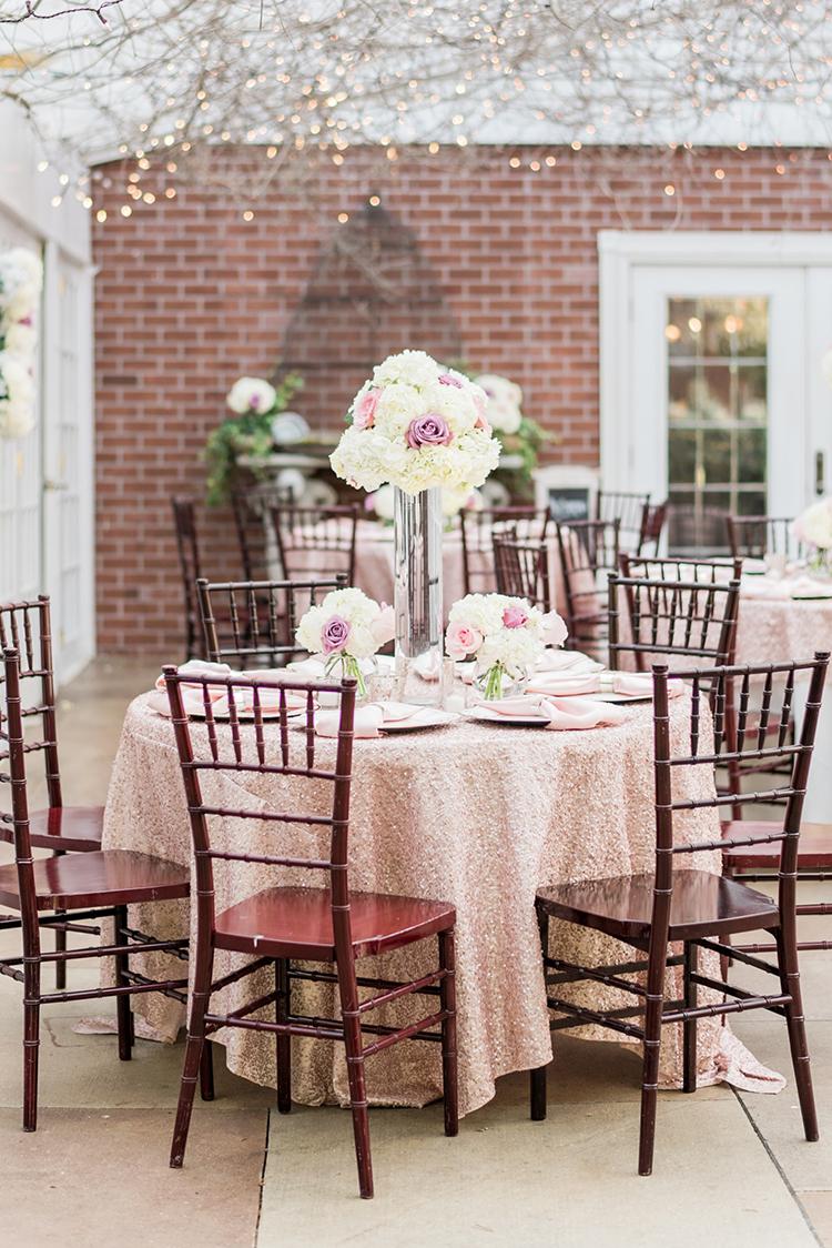 wedding tables - photo by A.J. Dunlap Photography https://ruffledblog.com/glamorous-seaside-soiree-wedding-with-glam-details