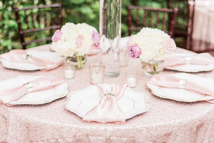 all pink tablescapes - photo by A.J. Dunlap Photography http://ruffledblog.com/glamorous-seaside-soiree-wedding-with-glam-details