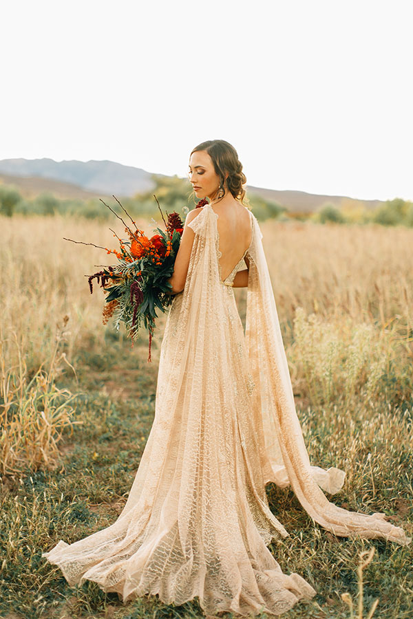 Gold and Crimson for a Fall Wedding #fallwedding #bridalcape #redwedding