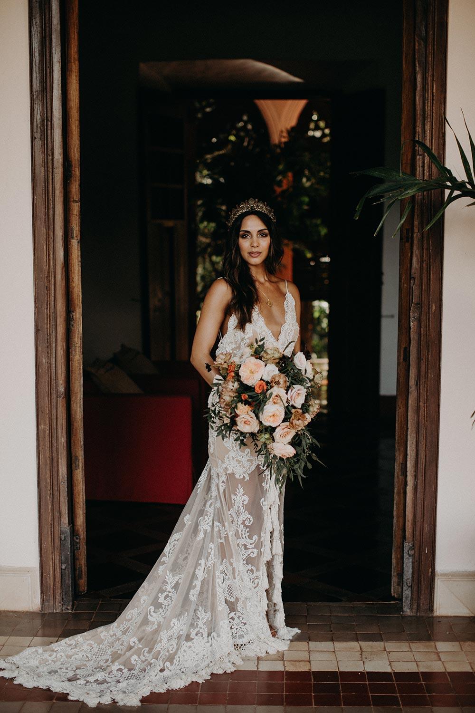 boho lace wedding dress with bridal crown