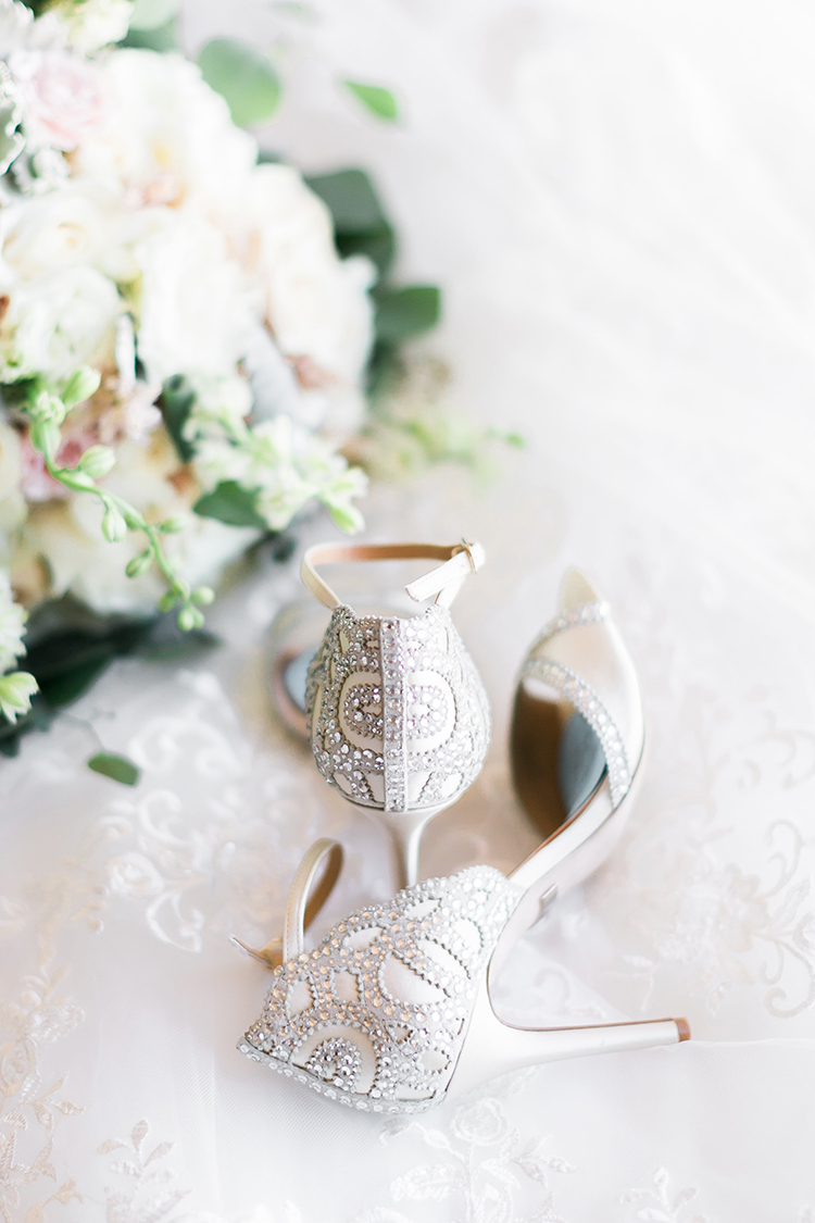 Badgley Mischka embellished wedding shoes - photo by J Anne Photography http://ruffledblog.com/rustic-chic-las-vegas-garden-wedding-in-pink
