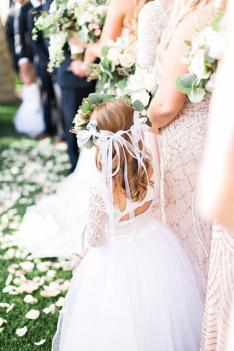 lace flower girl dress - photo by J Anne Photography http://ruffledblog.com/rustic-chic-las-vegas-garden-wedding-in-pink