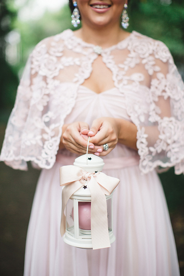 bridemaid with lace bolero - photo by Izzy Hudgins Photography https://ruffledblog.com/handcrafted-sparkle-wedding-in-savannah