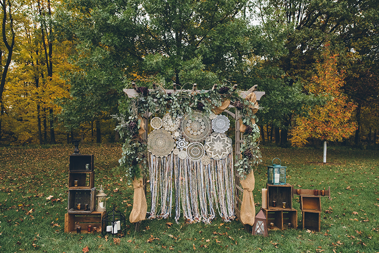 Handcrafted Wedding with a Doily Hoop Ceremony Backdrop - photo by Ed and Aileen Photography http://ruffledblog.com/handcrafted-wedding-with-a-doily-hoop-ceremony-backdrop