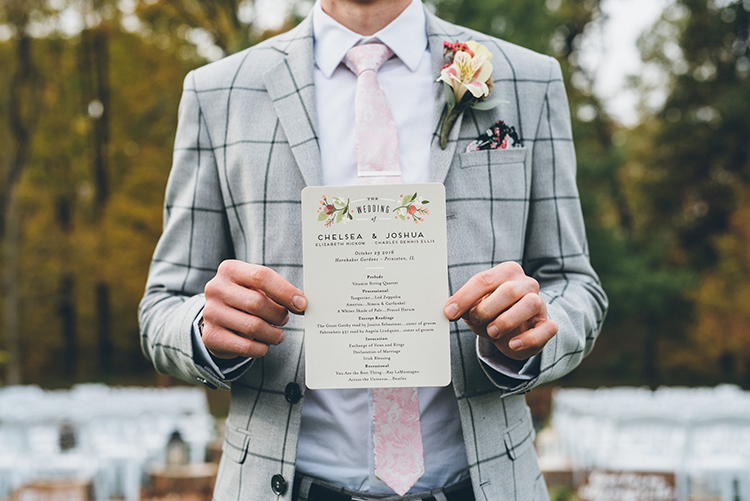 wedding paper goods programs - photo by Ed and Aileen Photography https://ruffledblog.com/handcrafted-wedding-with-a-doily-hoop-ceremony-backdrop