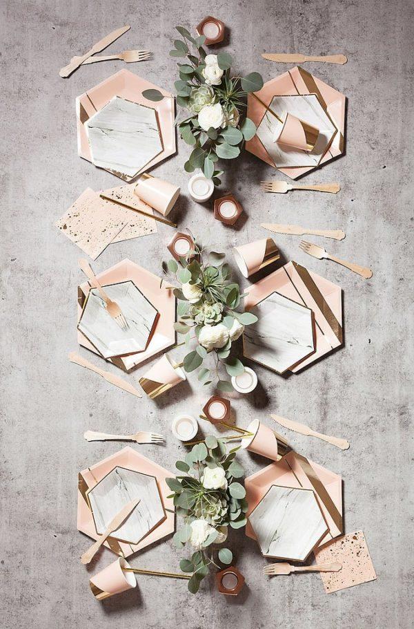 geometric wedding plates from Harlow and Grey https://ruffledblog.com/40-eye-catching-geometric-wedding-ideas