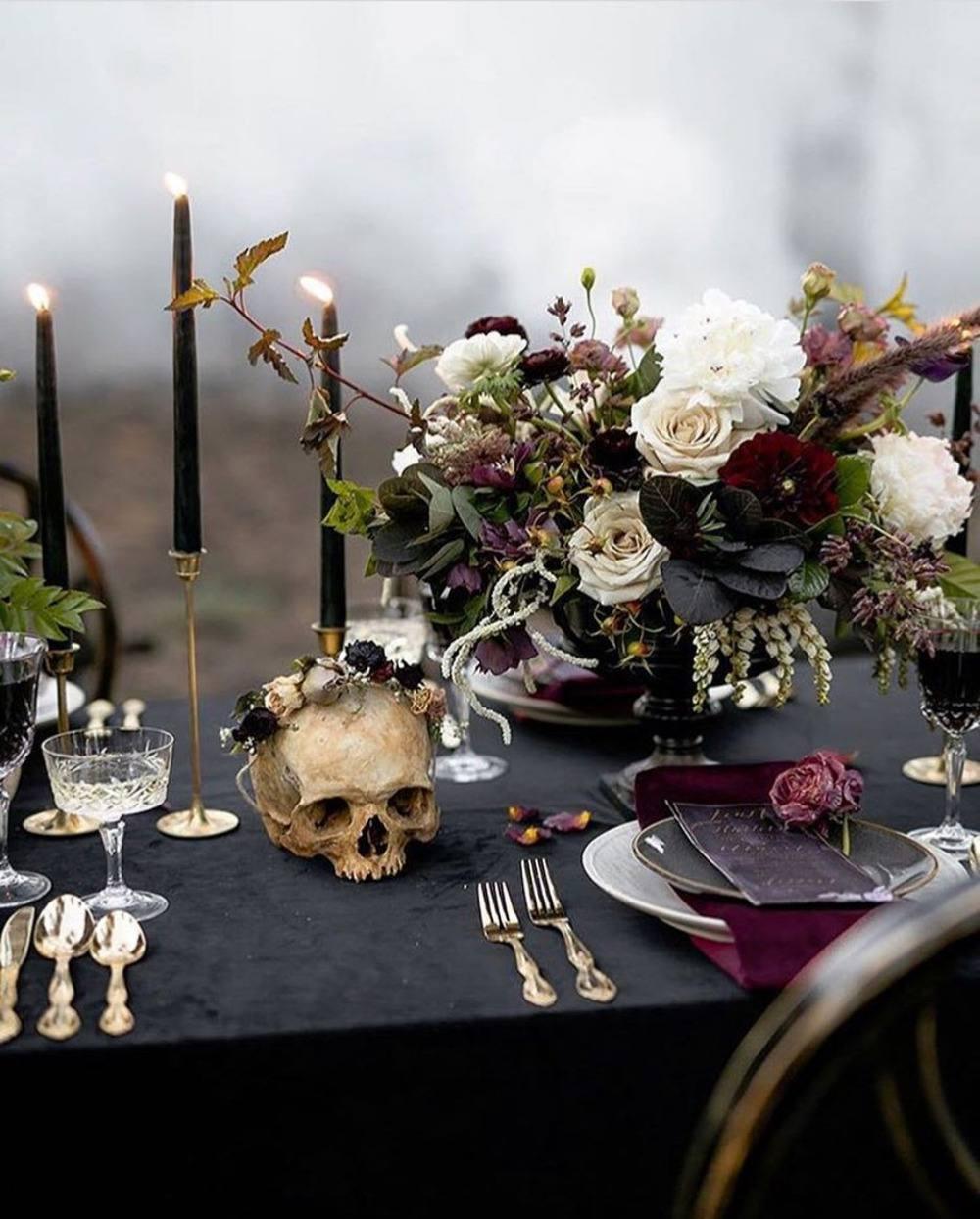 Halloween wedding - graveyard inspired tablescape