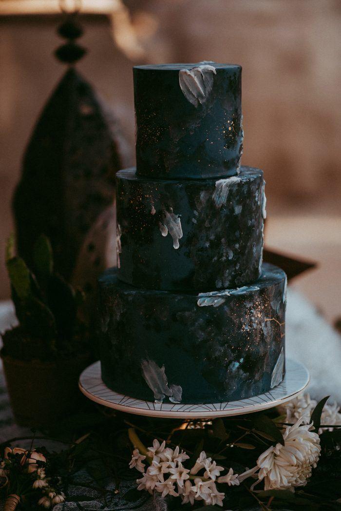 constellation inspired  halloween wedding cake