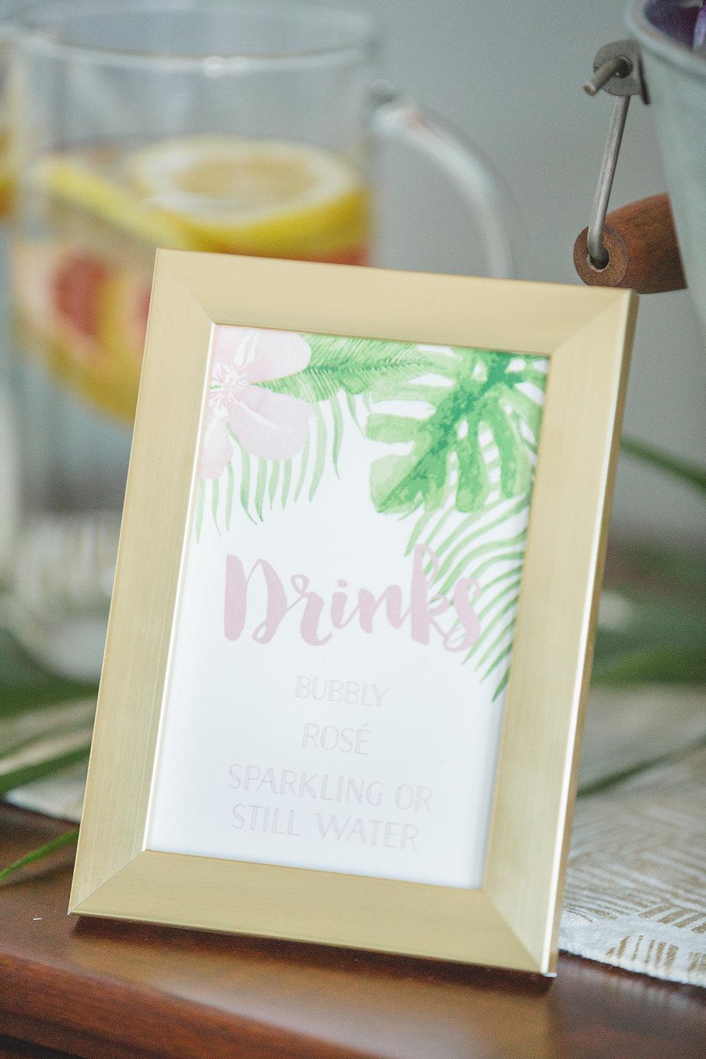 drink signs - photo by Parrish House Photos https://ruffledblog.com/hawaiian-inspired-bridal-shower