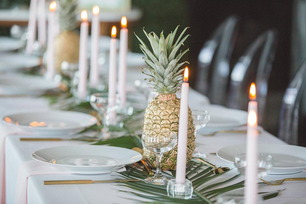 wedding tablescapes - photo by Parrish House Photos https://ruffledblog.com/hawaiian-inspired-bridal-shower