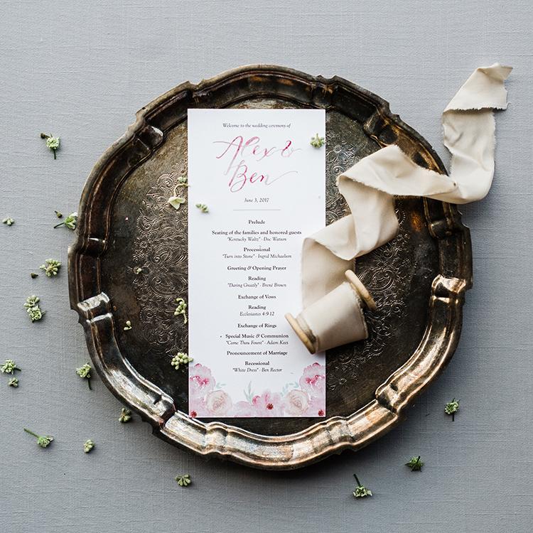 wedding paper goods with pink details - photo by Amilia Photography http://ruffledblog.com/heart-touching-north-carolina-nursery-wedding