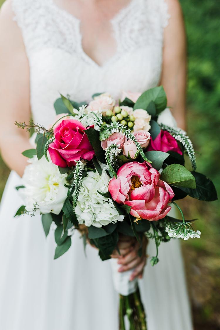 wedding bouquets with hot pink flowers - photo by Amilia Photography https://ruffledblog.com/heart-touching-north-carolina-nursery-wedding