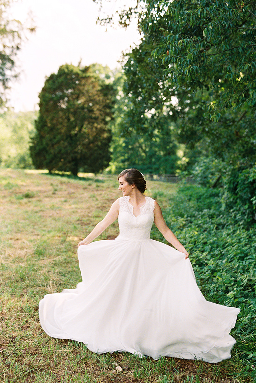 romantic modest wedding dresses - photo by Amilia Photography https://ruffledblog.com/heart-touching-north-carolina-nursery-wedding