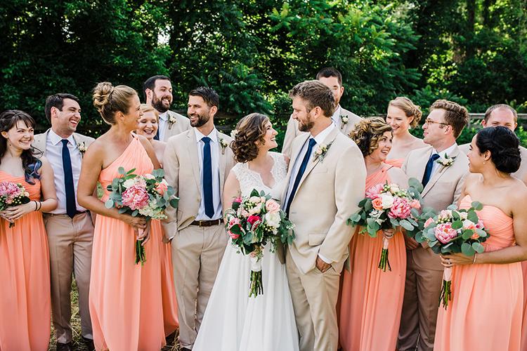 peach colored bridesmaid dresses - photo by Amilia Photography https://ruffledblog.com/heart-touching-north-carolina-nursery-wedding