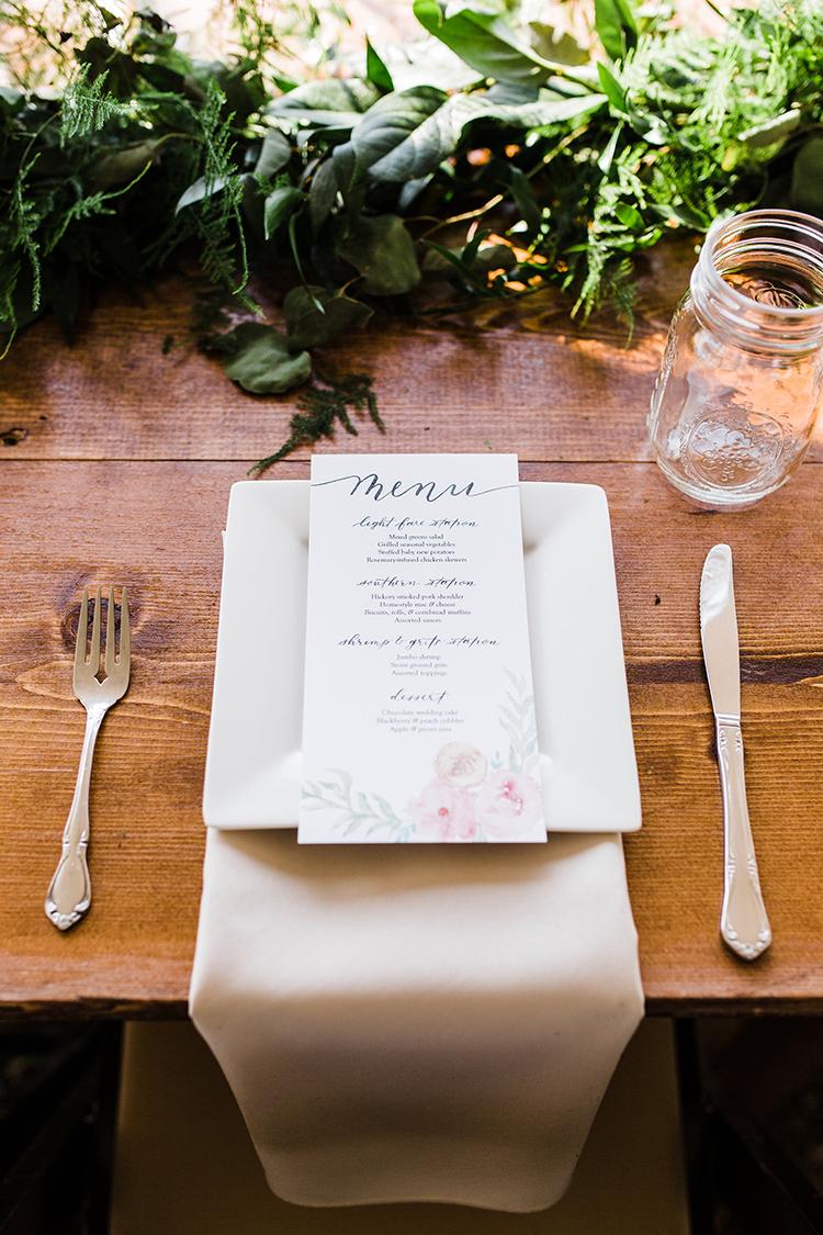 simple place setting ideas - photo by Amilia Photography https://ruffledblog.com/heart-touching-north-carolina-nursery-wedding