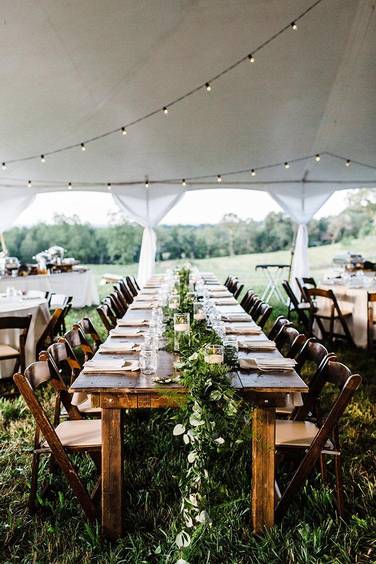 rustic farm wedding receptions - photo by Amilia Photography http://ruffledblog.com/heart-touching-north-carolina-nursery-wedding
