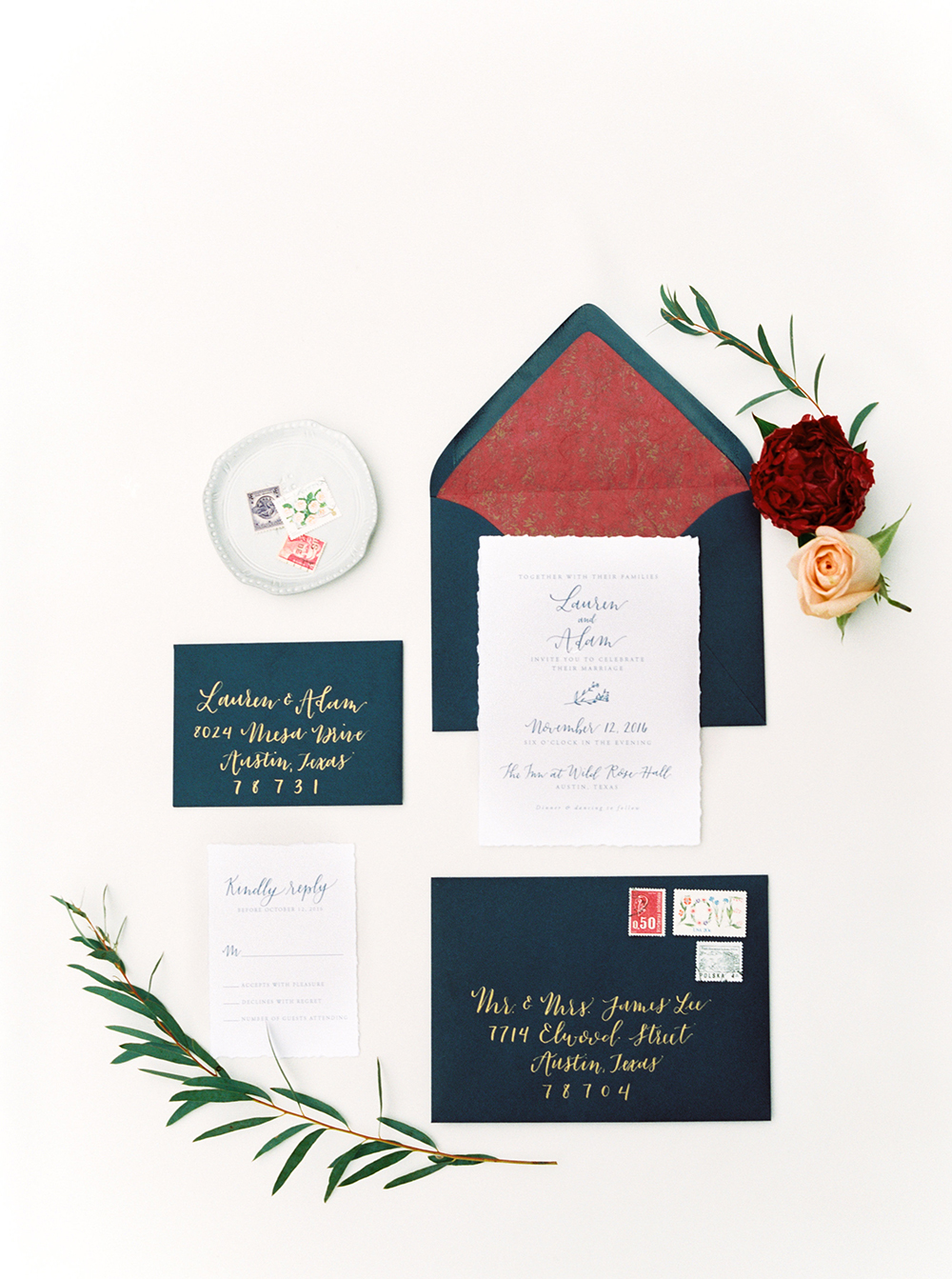 wedding stationery - photo by Honey Gem Creative http://ruffledblog.com/hill-country-garden-wedding