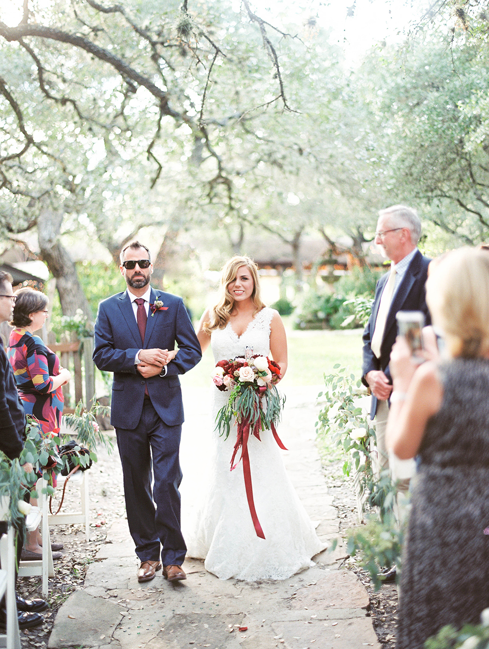 ceremony processionals - photo by Honey Gem Creative http://ruffledblog.com/hill-country-garden-wedding