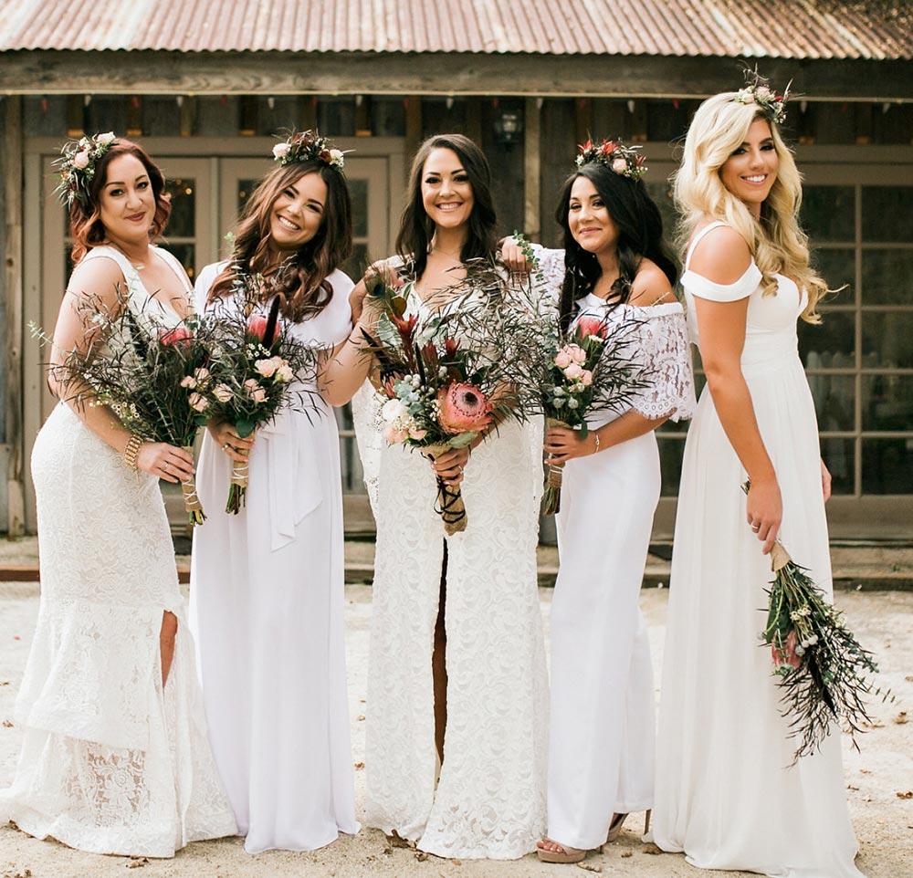boho bridesmaids wedding bouquets