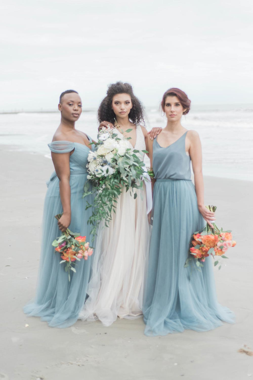 Exceptional Dusty Blue Maxi Bridesmaid Dresses Coastal Wedding