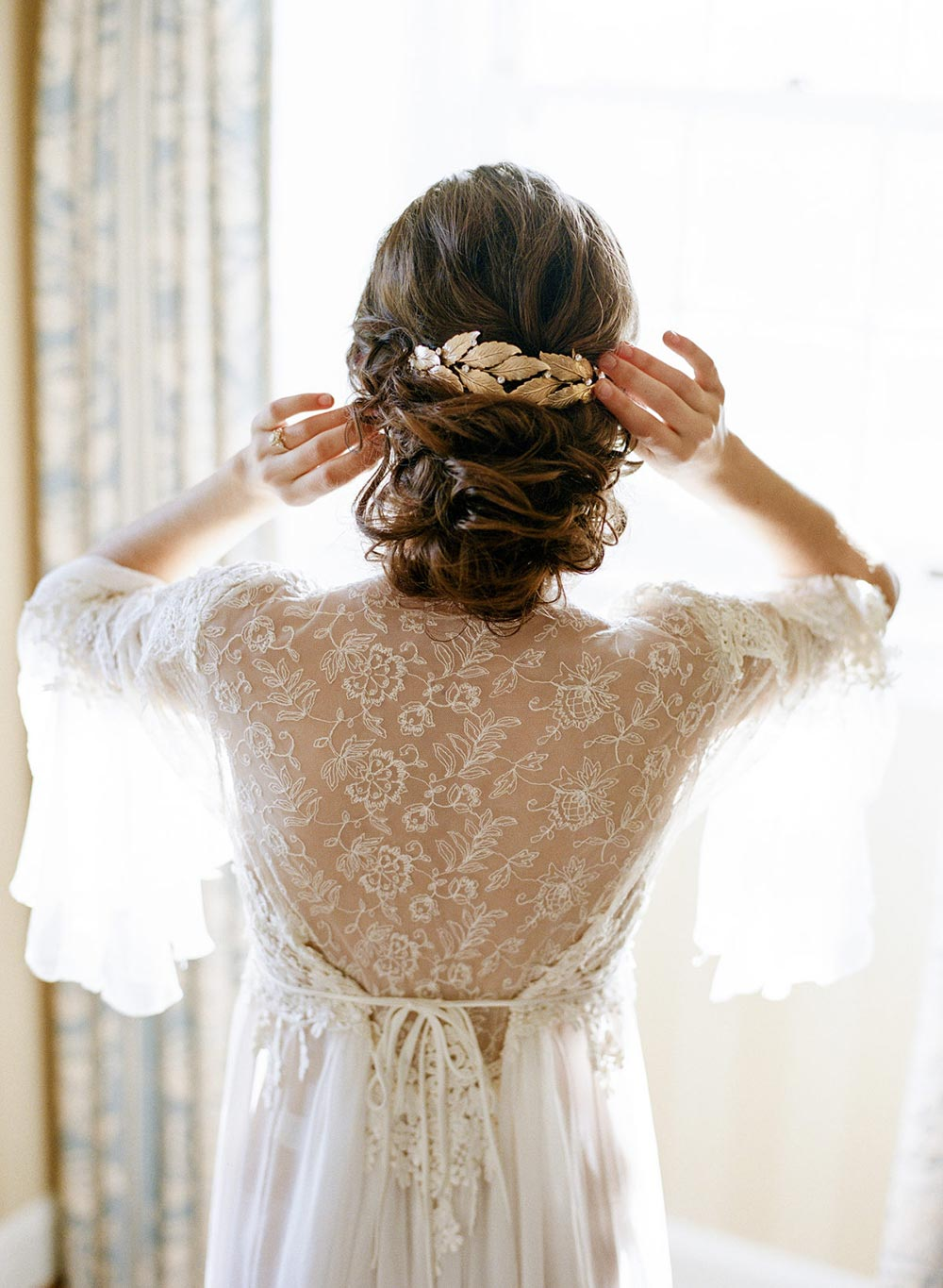 bridal tiara and lace robe