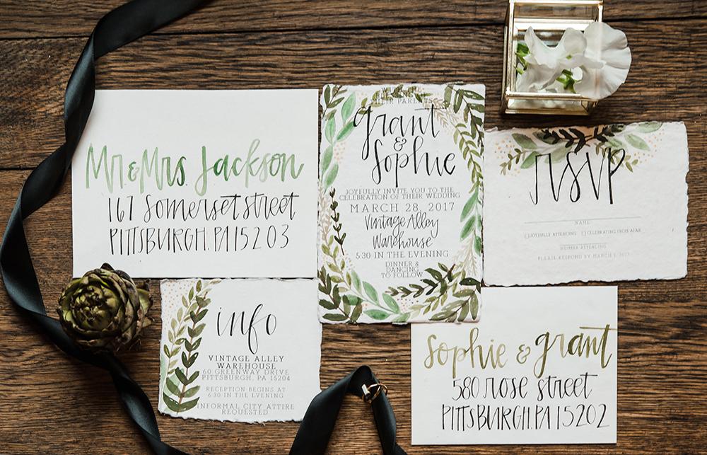 garden wedding invitations - photo by Dawn Derbyshire Photography https://ruffledblog.com/industrial-candlelit-wedding-inspiration