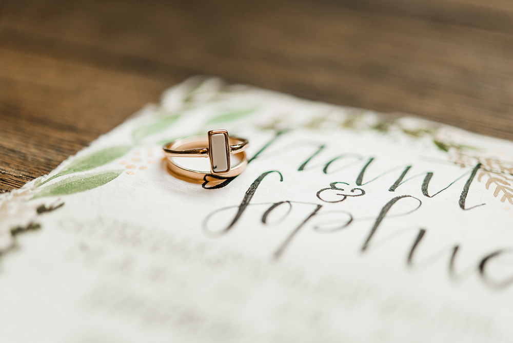 unique engagement rings - photo by Dawn Derbyshire Photography https://ruffledblog.com/industrial-candlelit-wedding-inspiration