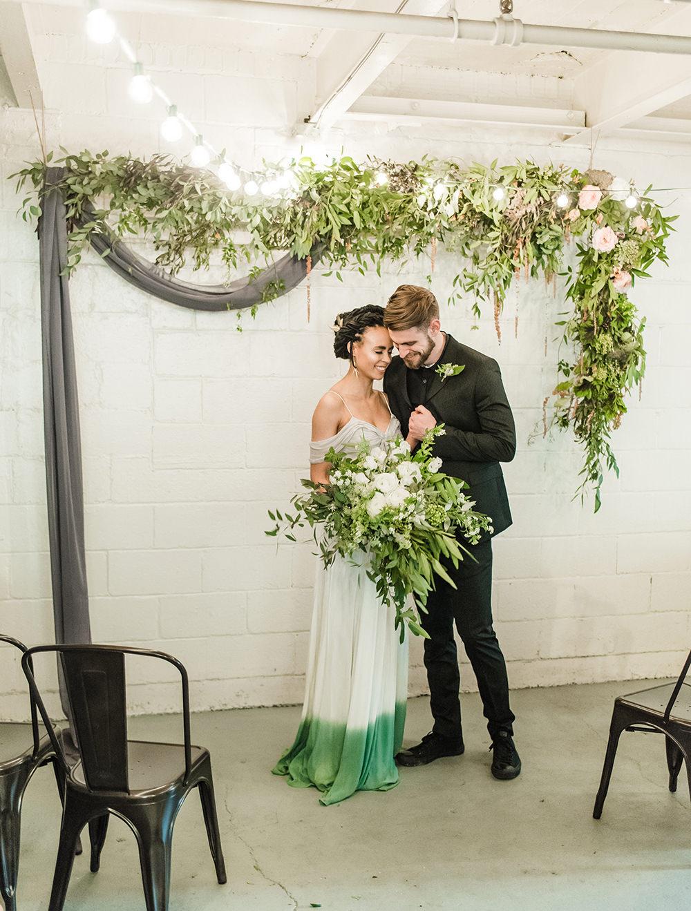 garden inspired ceremonies - photo by Dawn Derbyshire Photography https://ruffledblog.com/industrial-candlelit-wedding-inspiration