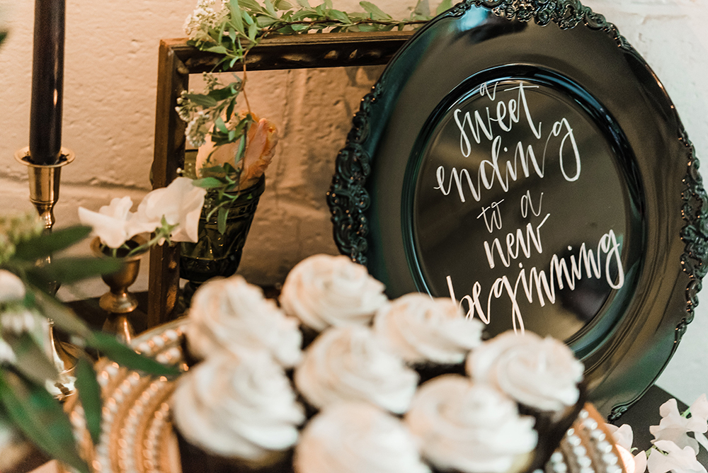dessert tables - photo by Dawn Derbyshire Photography https://ruffledblog.com/industrial-candlelit-wedding-inspiration