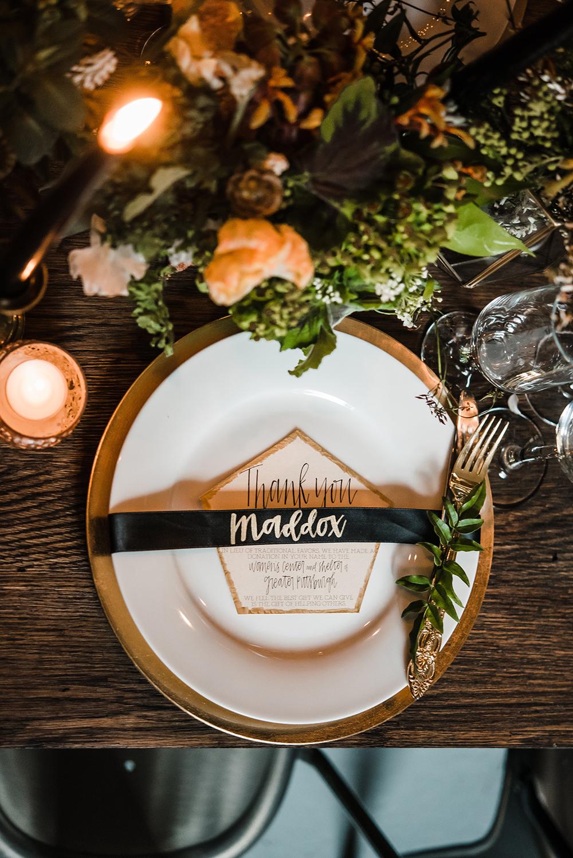 modern place settings - photo by Dawn Derbyshire Photography https://ruffledblog.com/industrial-candlelit-wedding-inspiration