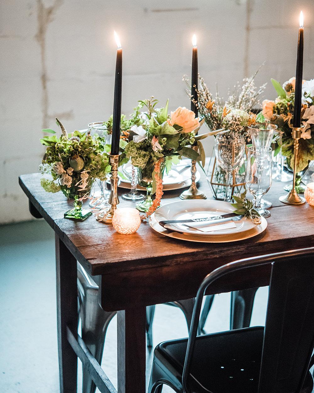 wedding tables - photo by Dawn Derbyshire Photography https://ruffledblog.com/industrial-candlelit-wedding-inspiration