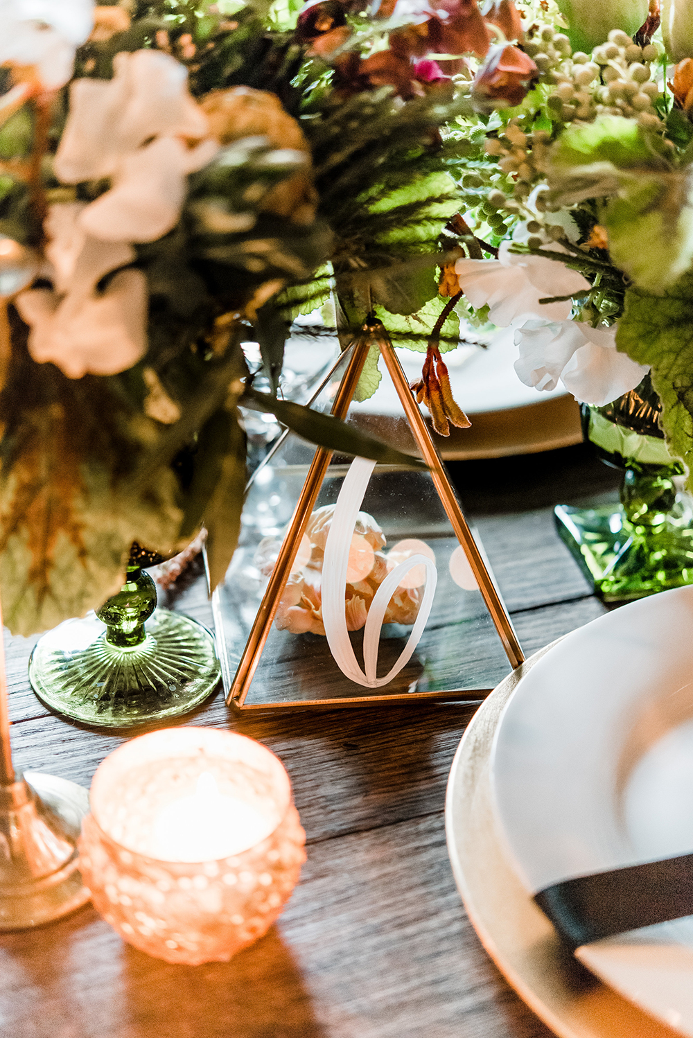 table numbers - photo by Dawn Derbyshire Photography https://ruffledblog.com/industrial-candlelit-wedding-inspiration