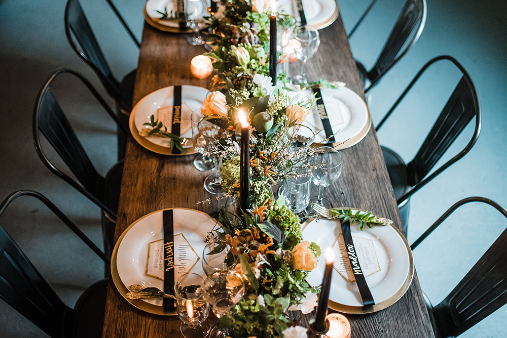 wedding tablescapes - photo by Dawn Derbyshire Photography https://ruffledblog.com/industrial-candlelit-wedding-inspiration