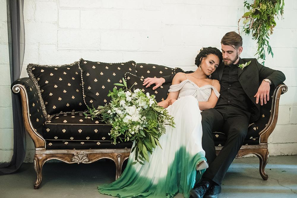 bride and groom - photo by Dawn Derbyshire Photography https://ruffledblog.com/industrial-candlelit-wedding-inspiration