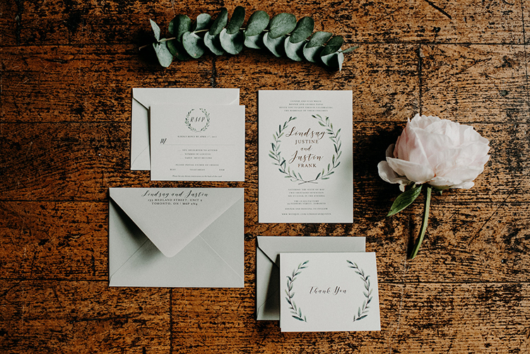 romantic greenery wedding stationery - photo by Scarlet ONeill https://ruffledblog.com/industrial-space-meets-enchanted-forest-wedding