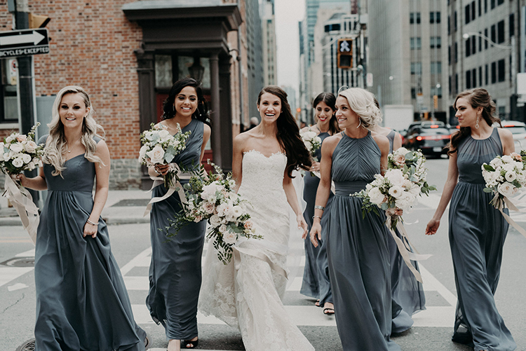 dove grey bridesmaid dresses - photo by Scarlet ONeill https://ruffledblog.com/industrial-space-meets-enchanted-forest-wedding