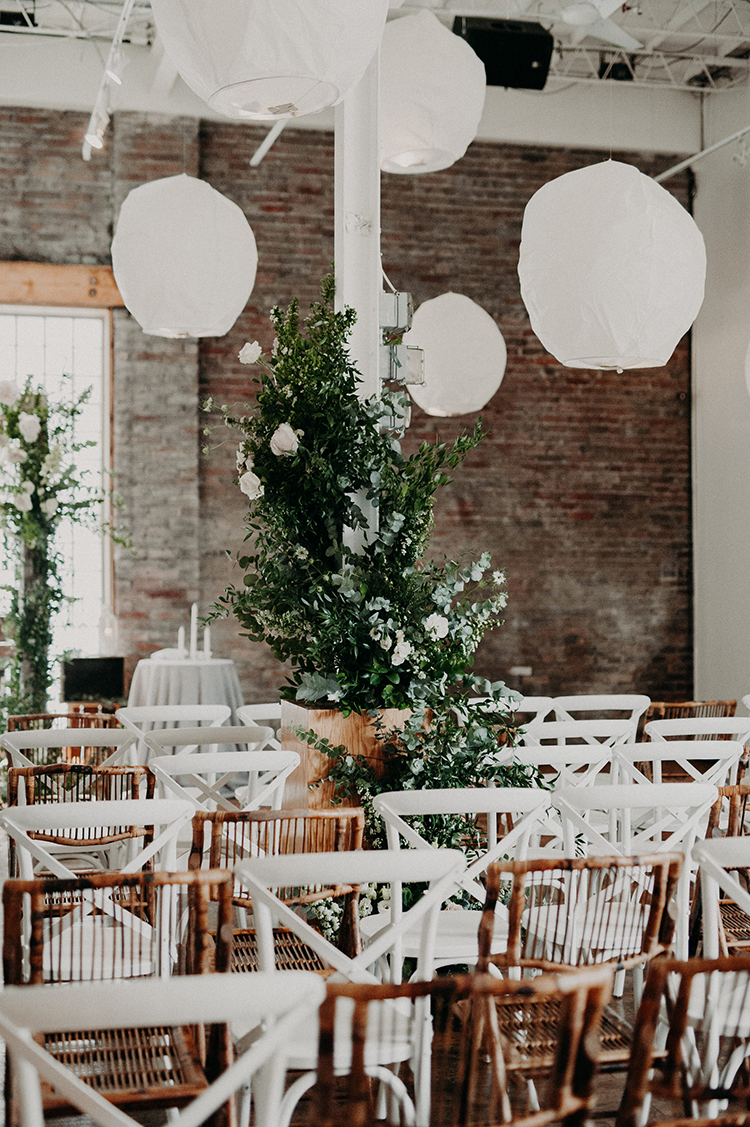 greenery at wedding ceremonies - photo by Scarlet ONeill https://ruffledblog.com/industrial-space-meets-enchanted-forest-wedding