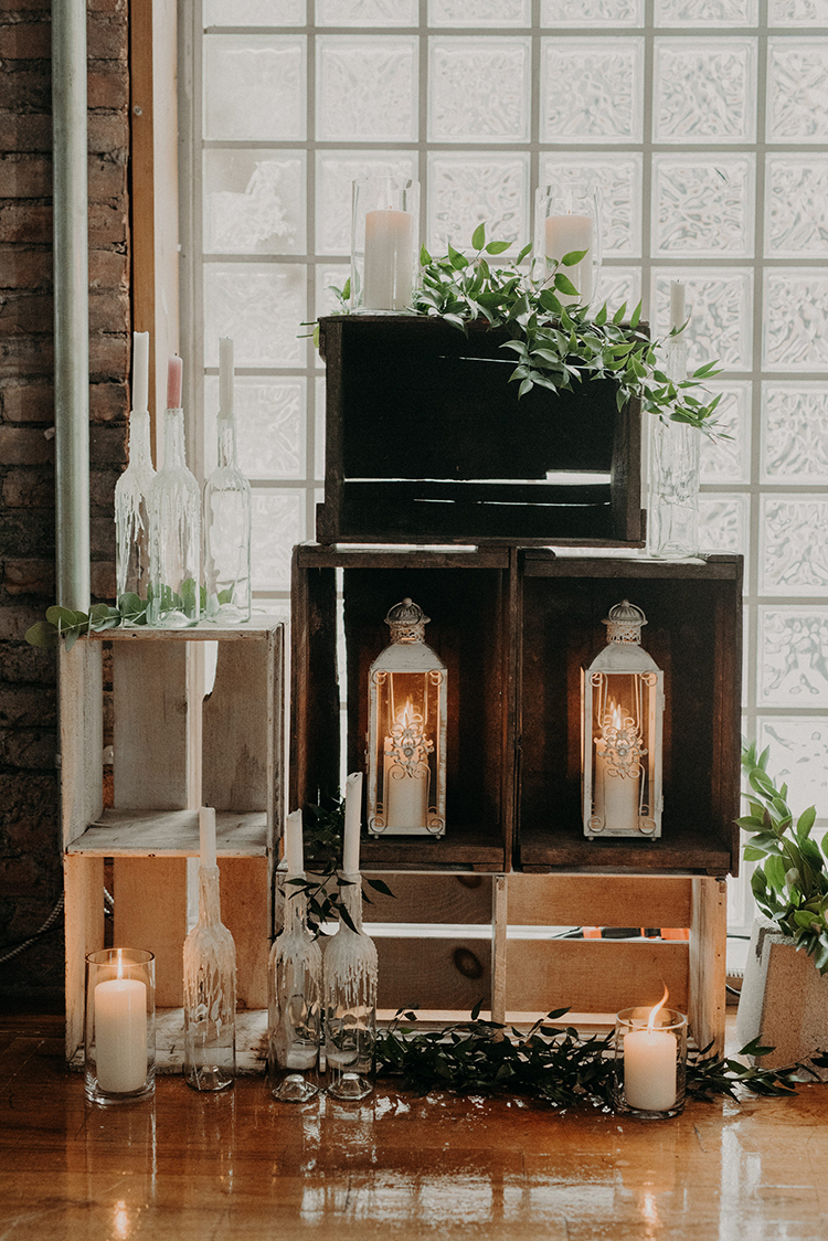wedding ceremony decor - photo by Scarlet ONeill http://ruffledblog.com/industrial-space-meets-enchanted-forest-wedding