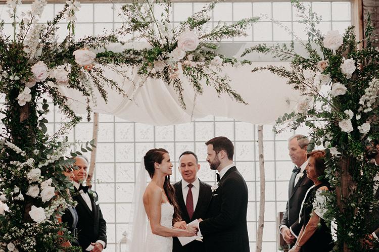 modern romantic weddings - photo by Scarlet ONeill https://ruffledblog.com/industrial-space-meets-enchanted-forest-wedding