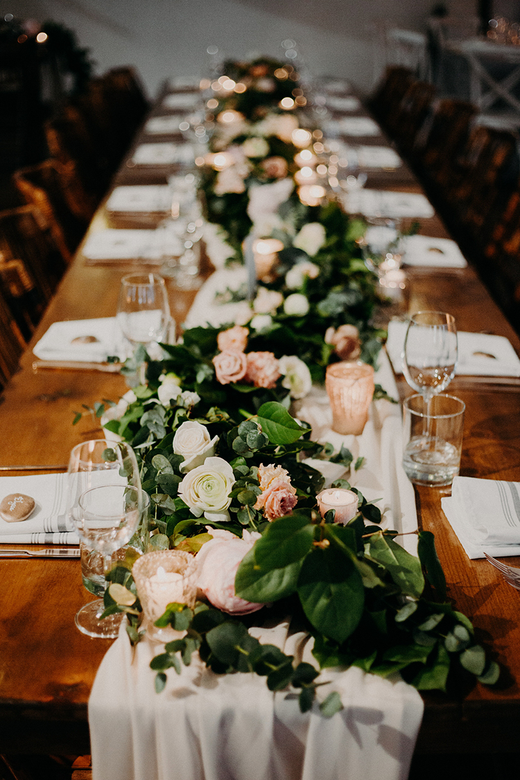 romantic tablescape ideas - photo by Scarlet ONeill https://ruffledblog.com/industrial-space-meets-enchanted-forest-wedding