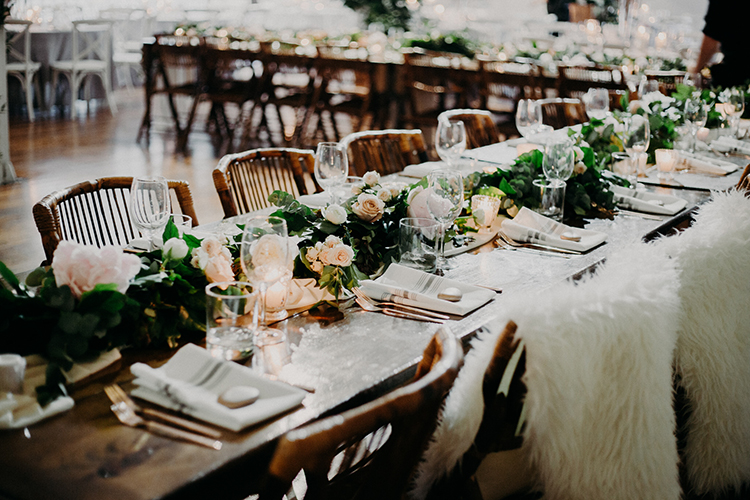 romantic winter wedding ideas - photo by Scarlet ONeill http://ruffledblog.com/industrial-space-meets-enchanted-forest-wedding